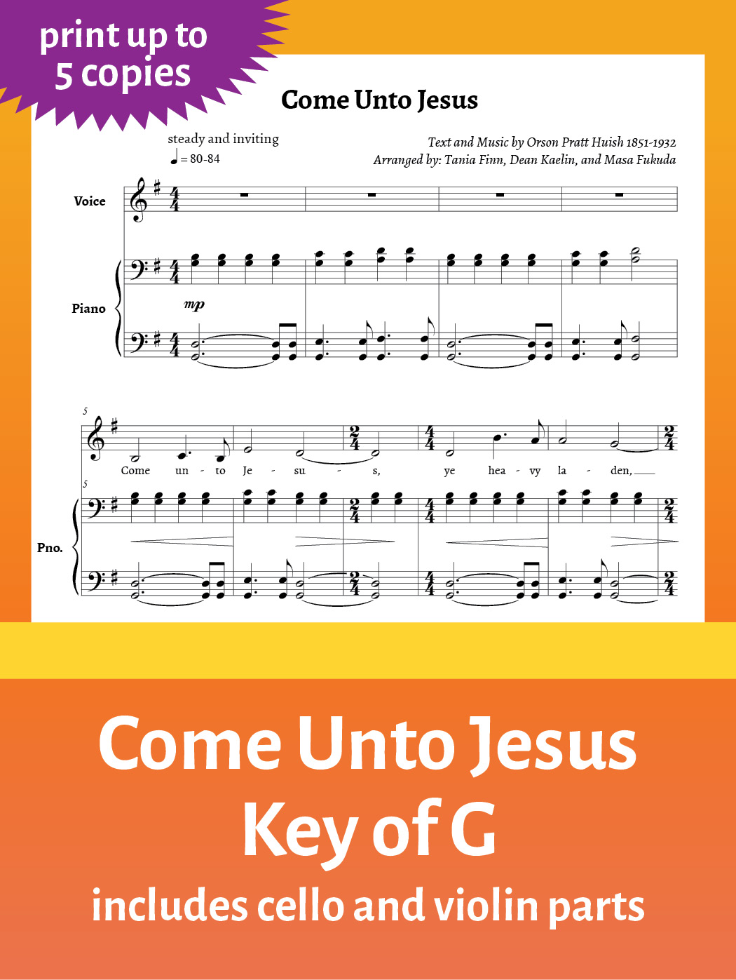 Come Unto Jesus – Sheet Music – Key of G – up to 5 copies