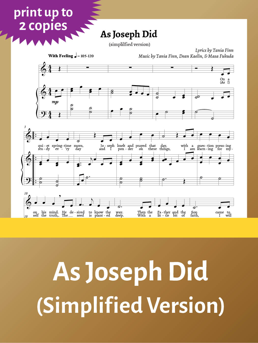 As Joseph Did – Sheet Music – simplified – up to 2 copies