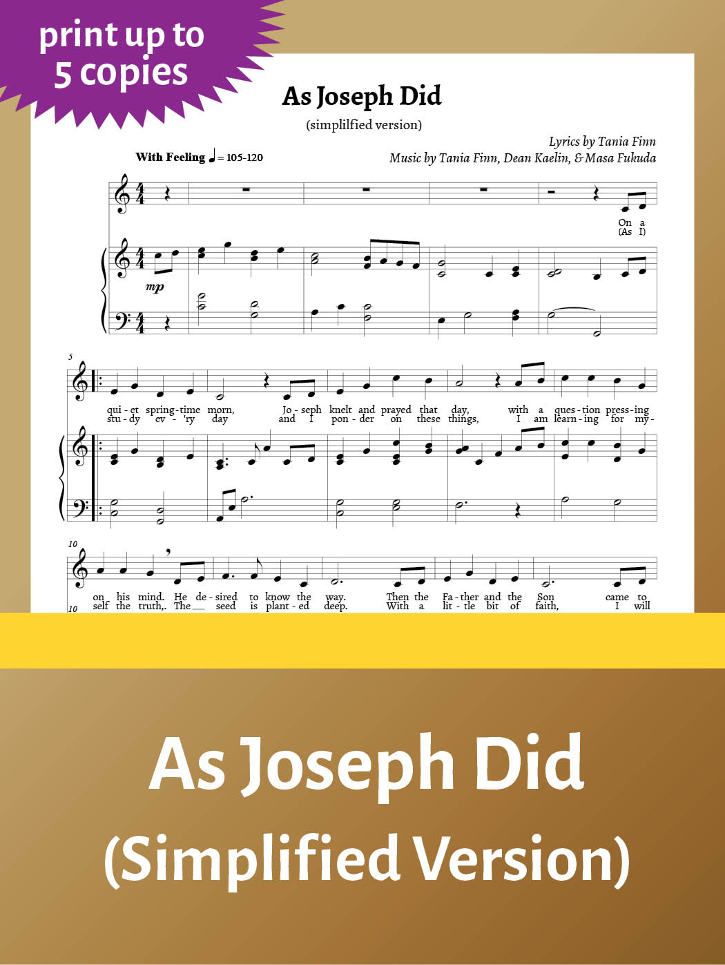 As Joseph Did – Sheet Music – simplified – up to 5 copies