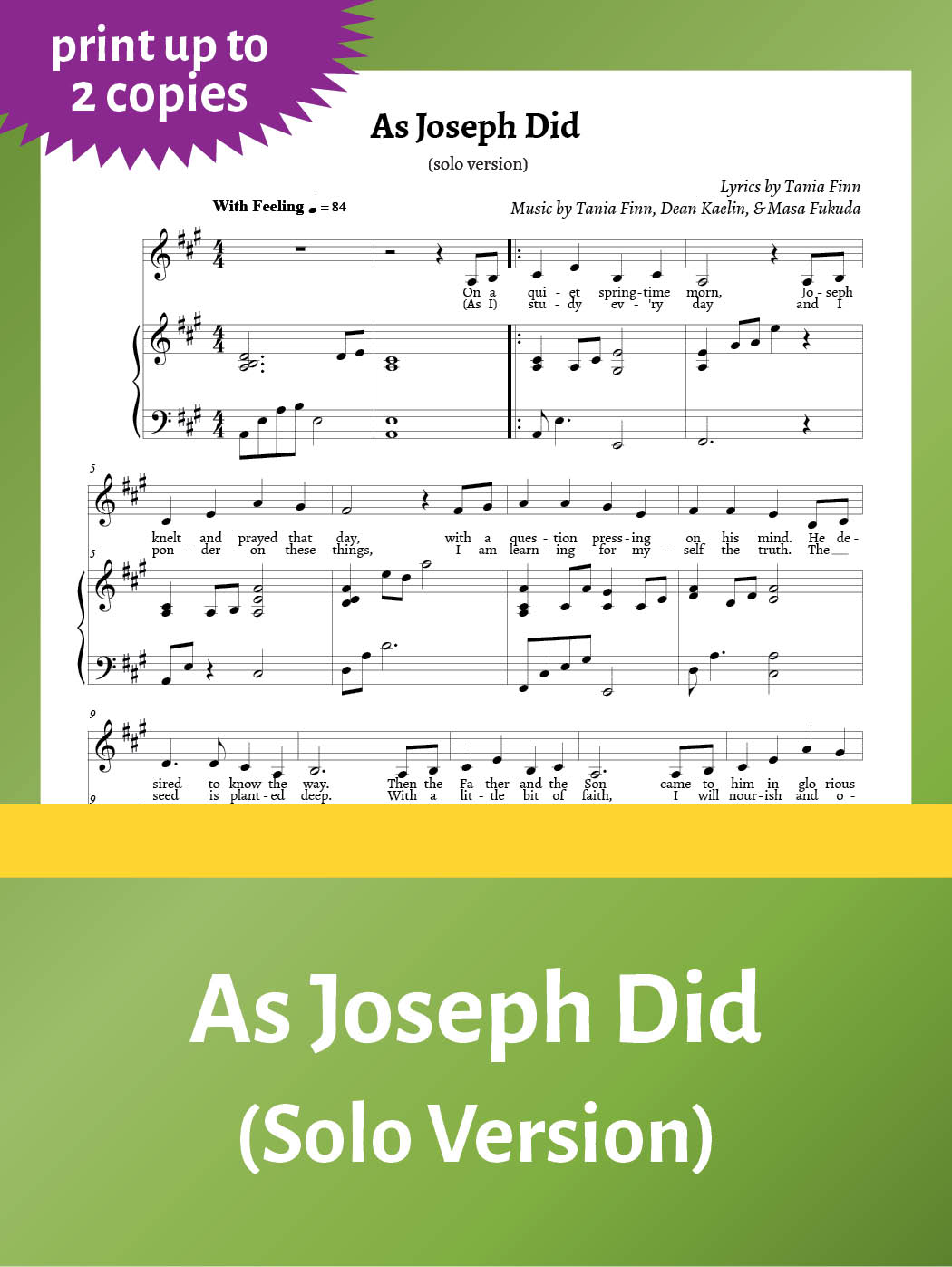 As Joseph Did – Sheet Music – solo – up to 2 copies